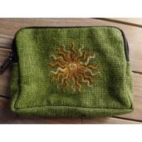 Porte monnaie vert soleil beige/marron