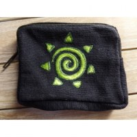 Porte monnaie noir spirale verte