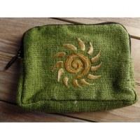 Porte monnaie vert spirale soleil beige