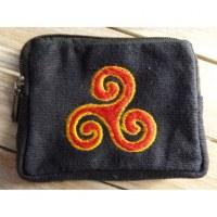 Porte monnaie noir triskèle rouge/jaune