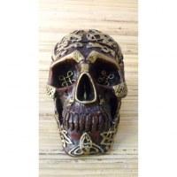 Cendrier marron crâne gravé doré amovible