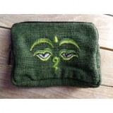 Porte monnaie vert les yeux de Bouddha vert clair/vert