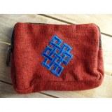 Porte monnaie rouge noeud infini bleu