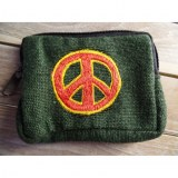 Porte monnaie vert peace & love rouge/jaune