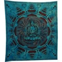 Grande tenture Bouddha lotus bleu