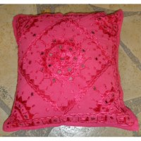 Housse carrée fleur brodée rose