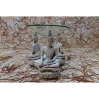 Brûleur à huile 3 Bouddha blancs