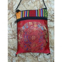 Sac passeport rouge mandala