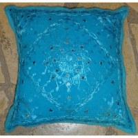 Housse carrée fleur brodée bleu