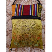 Sac passeport jaune or mandala