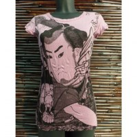 Tee shirt samouraï rose