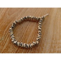 Bracelet tibétain 6 perles yin yang blanches