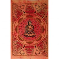Petite tenture lotus Bouddha orange