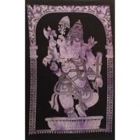 Petite tenture noire/mauve Ganesh debout