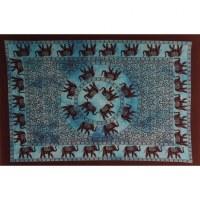 Petite tenture bleue la marche des éléphants
