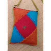 Sacoche patchwork rouge/bleu/orange