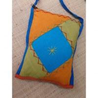 Sacoche patchwork bleu/jaune/orange
