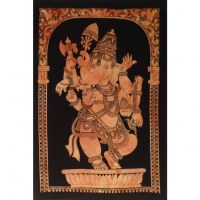 Petite tenture orange Ganesh debout