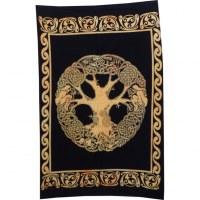 Tenture mini arbre de vie celte noir/jaune