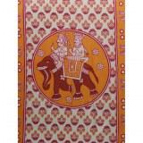 Tenture orange l'éléphant et les 2 cornacs