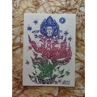 Carte divinité Parvati bleu/rouge/vert