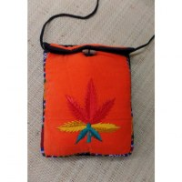 Sac velours orange ghéri brodé feuille rasta