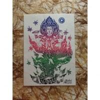 Carte divinité Parvati bleu/rouge/vert/noir