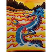 Tenture/paréo dragon bleu tout feu tout flamme