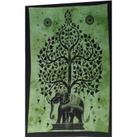 Mini tenture vert arbre de vie et éléphant