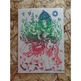 Carte Apsara et l'éléphant rouge/vert