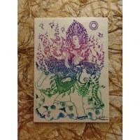 Carte Apsara et l'éléphant mauve/vert