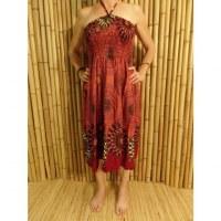Jupe/robe rouge fleur paon