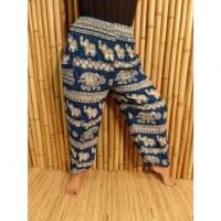 Pantalon bleu cobalt Pejburi éléphants