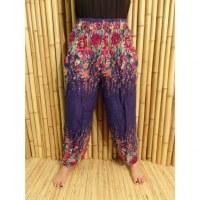 Pantalon fantaisie bleu fleurs colorées