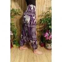 Sarouel violet/blanc éléphants