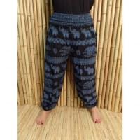 Pantalon noir Pejburi éléphants bleus