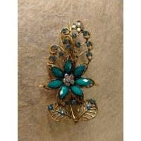 Pince strass feuille et fleur bleue