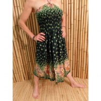 Jupe/robe verte à fleurs