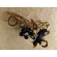 Pince strass papillon noir