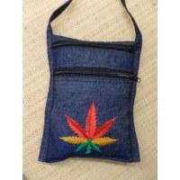 Sac passeport bleu jean feuille tricolore