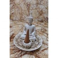 Porte encens blanc Bouddha en méditation