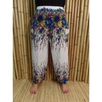 Pantalon fantaisie blanc fleurs colorées