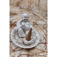 Porte encens blanc Bouddha chinois yuan bao