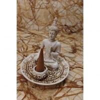 Porte encens blanc Bouddha bhumisparsa
