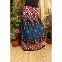 Jupe/robe vert fleurs roses