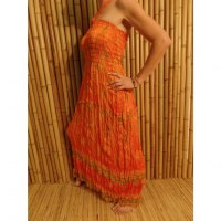 Robe orange mini coeurs verts