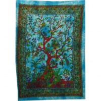 Mini tenture arbre de vie fleuri bleu
