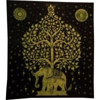 Tenture maxi arbre de vie et éléphant noir et vert