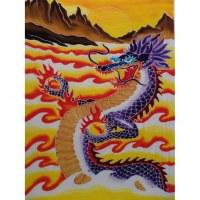 Tenture/paréo dragon des montagnes tout feu tout flamme