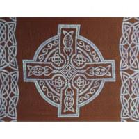 Tenture croix et rosace celtique bleue